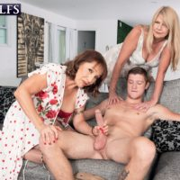 Granny adult film starlet Luna Azul and a nan mate of hers strip and suck off a younger boy