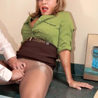 Hose clad mature work environment employee Luna Azul loosing giant hooters before giving BLOWJOB