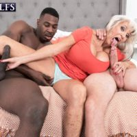 Jaw-dropping sixty plus MILF Sally D'Angelo blows a big white cock and a big black at once