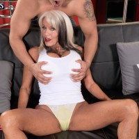 Long-limbed Sixty plus MILF Sally D'Angelo loosing humungous older knockers before milking cock