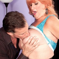 Lumbering red-haired grandmother Jackie having humungous fun bags sucked before delivering humungous knob oral pleasure
