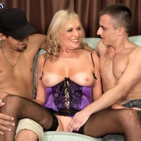 Mature light-haired pornostar Bethany James tugging 2 hard-ons in lingerie and hosiery