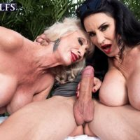 Aged woman Rita Daniels and her friend entice and suck off a young lad