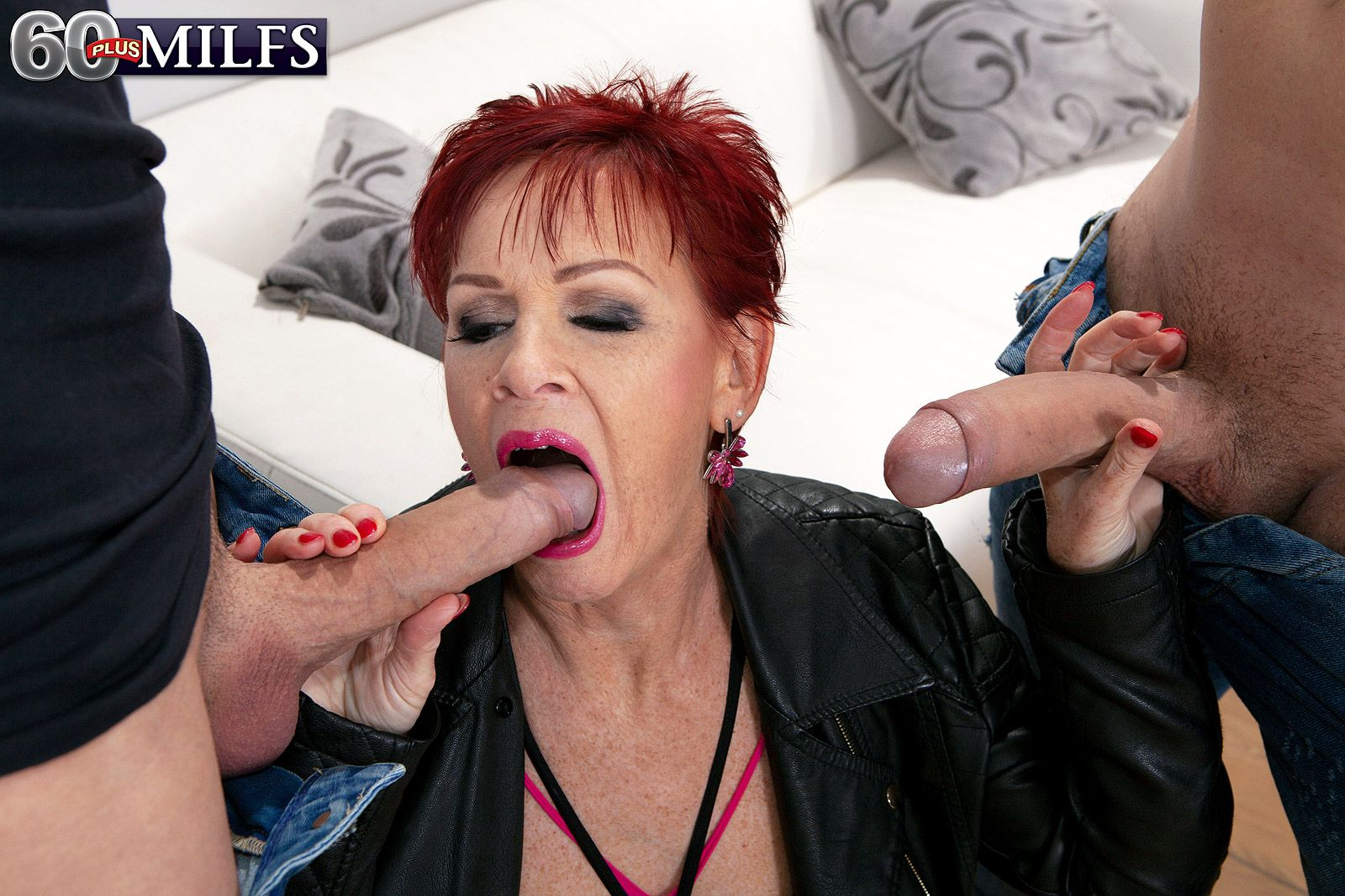 Redhad MILF Over 60 Caroline Hamsel picks up a couple of boys for an MMF fuck
