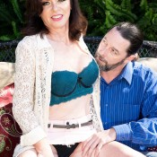 Sexy MILF over 60 Cashmere is stripped and fucked by her lover out on the patio