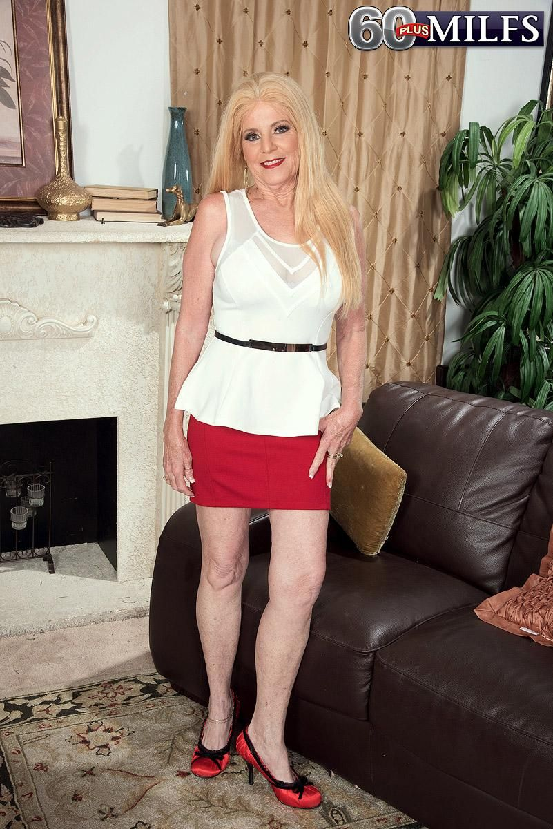 Blonde MILF over 60 Charlie has her big natural tits unleashed by younger man