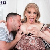 Thick MILF over 60 Crystal King has her boobs and nipples played with by a boy