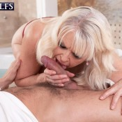Blonde MILF over 60 Lady S sucks her masseur's dick after she is rendered topless