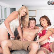 MILF Over 60 Luna Azul and her mature girlfriend take on a boy during a threesome