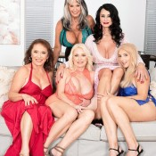 MILF over 60 Mia Magnusson hooks up with hot older ladies for lesbian group sex