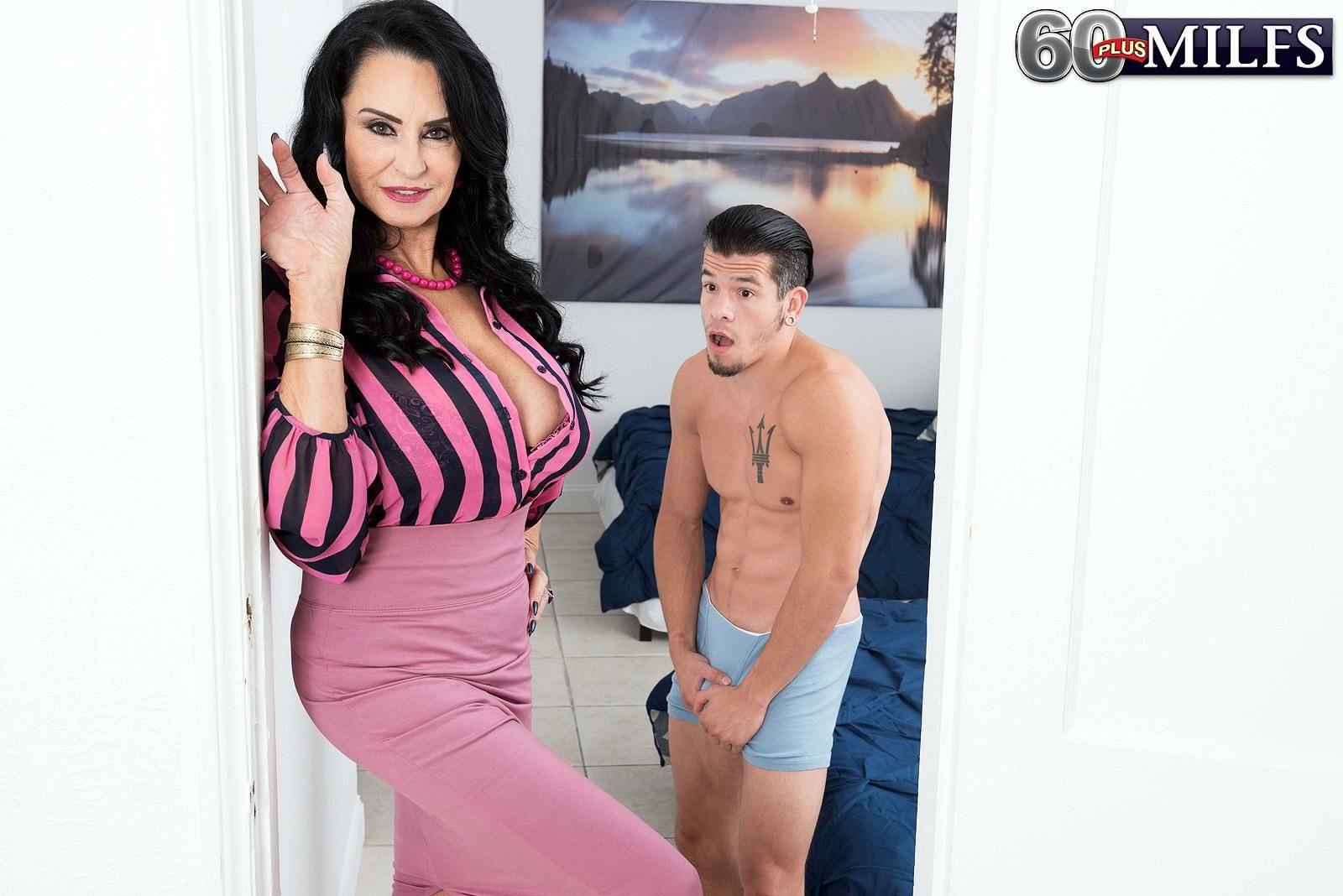 MILF Over 60 Rita Daniels ties up a boy and strips him naked before milking his cock
