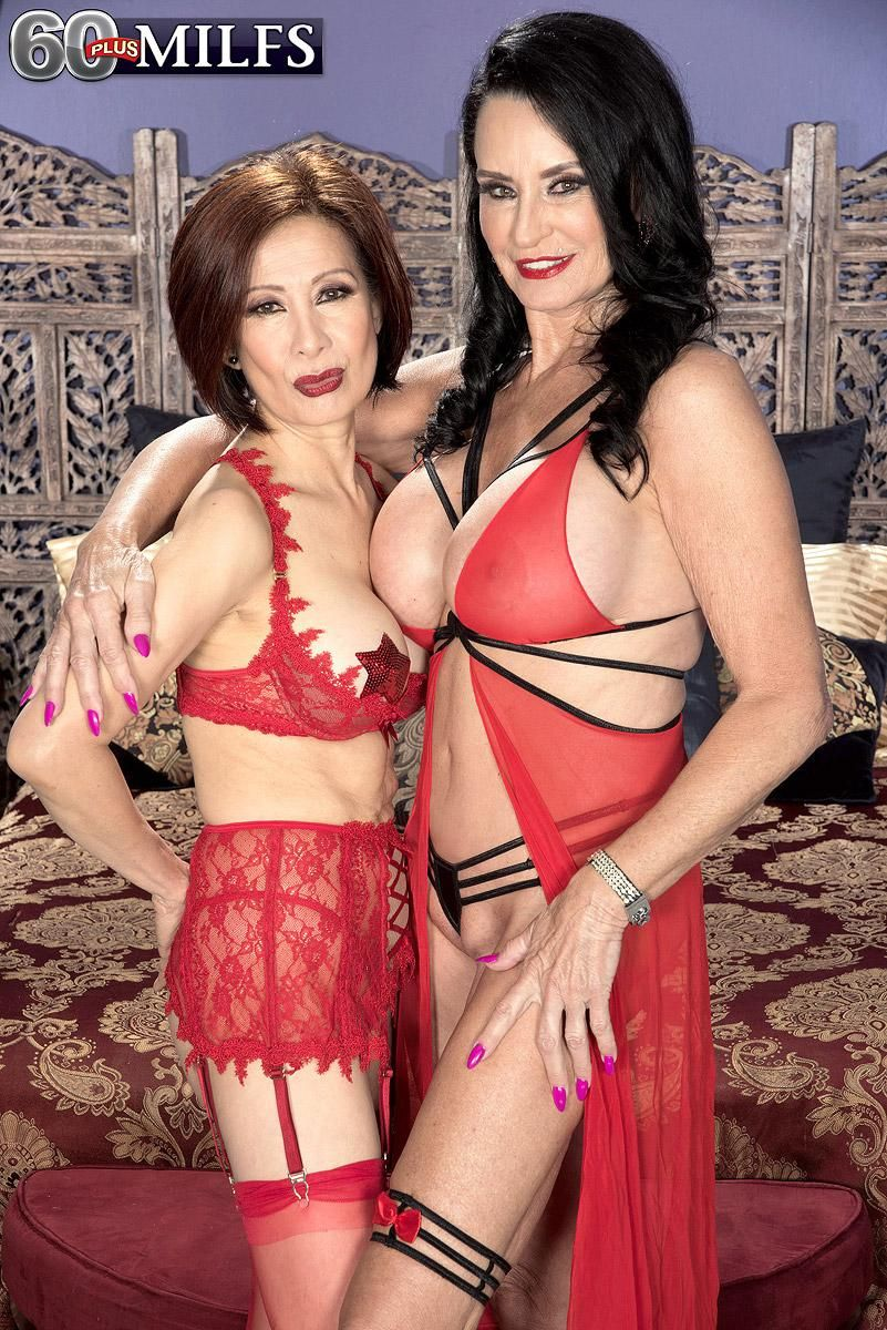 MILF Over 60 Rita Daniels and an Asian woman take on a boy during a threesome