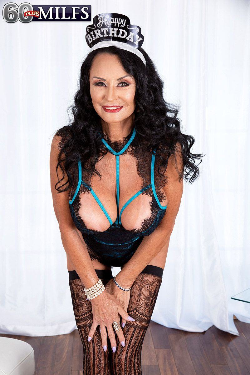 Hot MILF over 60 Rita Daniels looses her large boobs from lingerie in sexy stockings