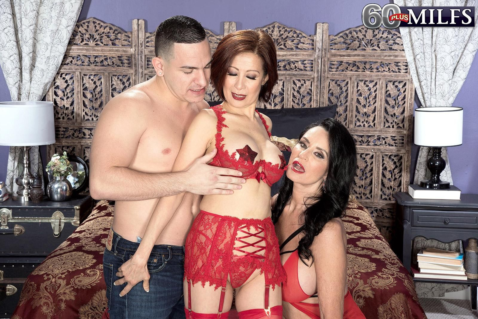 MILFs over 60 Rita Daniels and Kim Anh have a threesome with a younger man