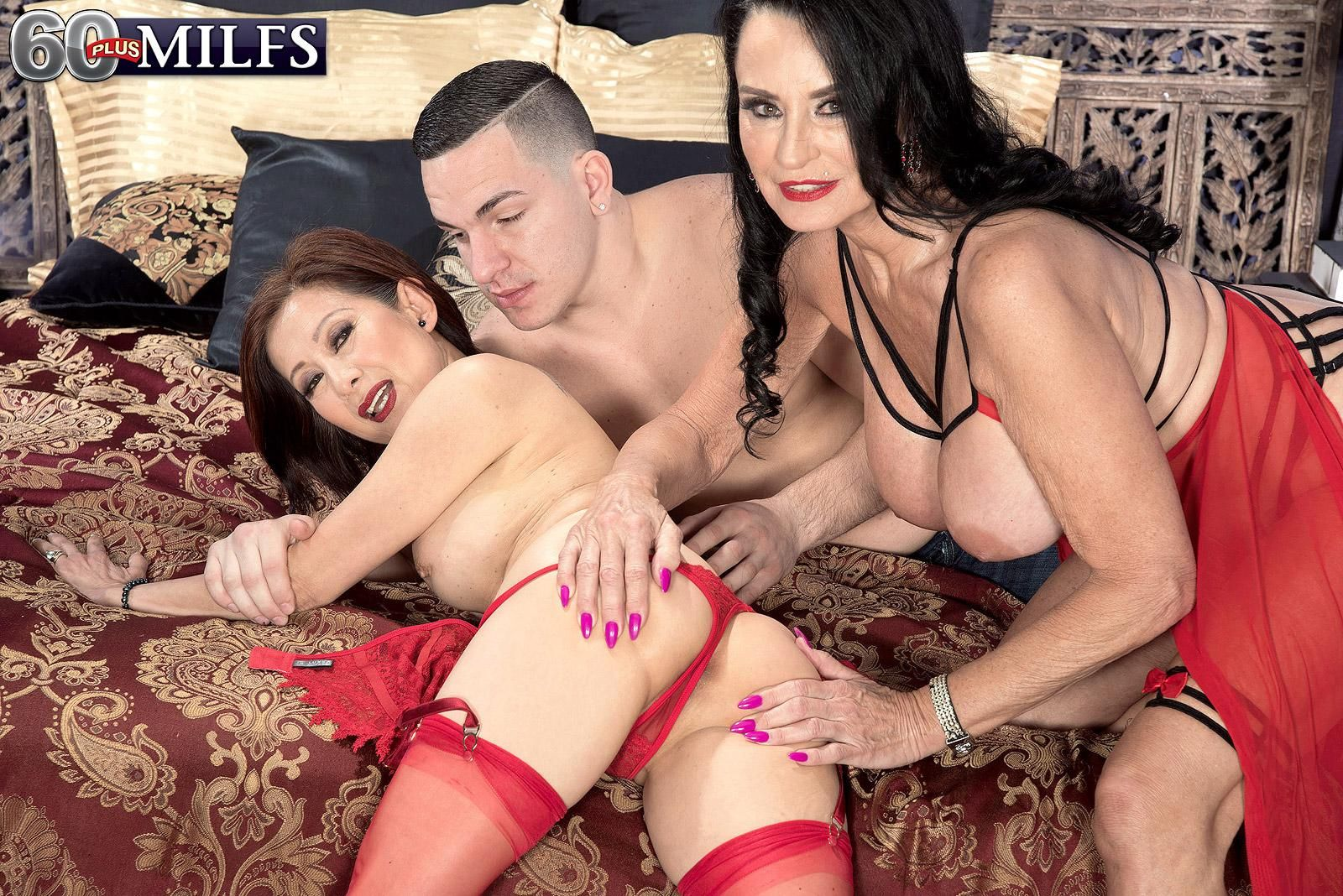 Horny grannies Rita Daniels and Kim Anh have a threesome with a younger boy