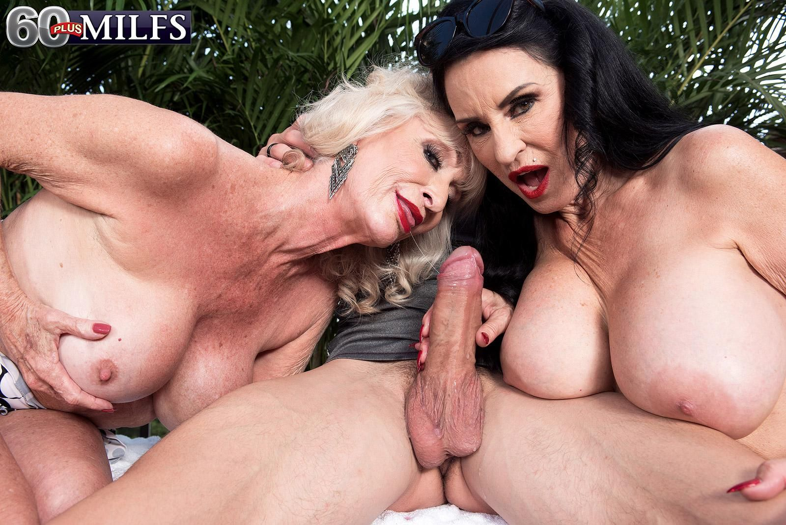 MILF Over 60 Rita Daniels and a Mature MILF jerk a cock together outdoors