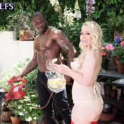 Over 60 MILF Robin Pachino seduces a hunky black man out on the patio