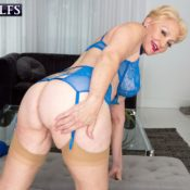 MILF Over 60 Seka Black exposes her boobs and butt during solo action