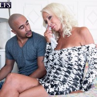 Mind-blowing Sixty plus MILF Madison Milstar seduces a younger black dude in a taut fitting dress