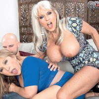 Mischievous Sixty plus COUGARS Sally D'Angelo and Luna Azul giving immense pecker blow-job in threeway