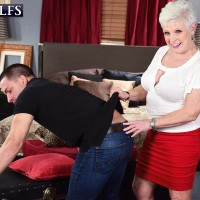 Nasty MILF on the other side of Sixty Jewel seduces a junior guy before tonguing his rod