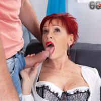 Old redhead Caroline Hamsel deep-throats and drills a stud after he catches her masturbating