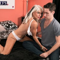 Over 60 MILF Sally D'Angelo flaunting upskirt panties before delivering hard-core ORAL PLEASURE