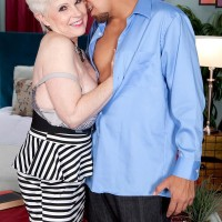 Over 60 MILF XXX film star Jewel having huge tits freed from sundress in tights and high-heeled shoes