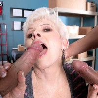 Over Sixty experienced pornographic star Jewel sucking off big dicks during multiracial MMF