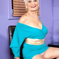 Over Sixty MILF amateur demonstrating upskirt panties and excellent grandmother legs in high-heeled shoes