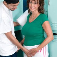 Over sixty MILF Jacqueline Jolie demonstrating rump in cut-offs while loosing massive experienced funbags