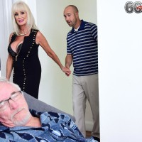 Provocative grandmother Leah L'Amour deep-throats and fucks a immense prick while her hubby sleeps