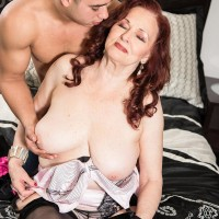 Redhead MILF over Sixty Katherine Merlot extracting large floppy tits for nip play