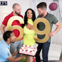 Hot MILF Rita Daniels celebrates birthday 69 with an interracial gangbang