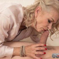 Seductive old lady Beata gives a ball gobbling oral job after seducing a junior man