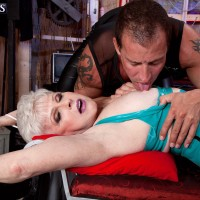 Short haired granny Jewel luving gonzo SADISM AND S/M sex in spandex dress and stockings