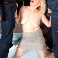 Sixty plus fair-haired grandmother Miranda Torri revealing enormous aged hooters before MMF Three way