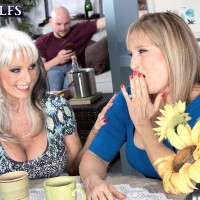 Sixty plus MOMMIES Sally D'Angelo and Luna Azul give a double hand job and blow-job