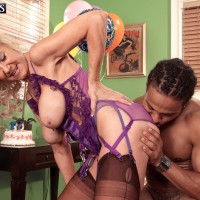 Stocking and lingerie clad older blonde Summeran Winters having multiracial sex
