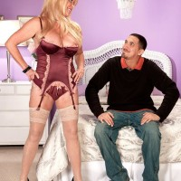 Stocking and lingerie garbed 60 plus MILF Lexi McCain offering lovely arse for sex