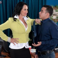 Stocking and micro-skirt garbed grandmother Rita Daniels undressing down to lingerie in office