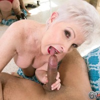 Stocking attired Sixty plus MILF Jewel whipping out large boobs before delivering monster-sized sausage a oral jobs