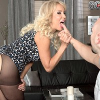 Stocking garbed MILF over 60 Erica Lauren showcasing mind-blowing ass and big aged breasts