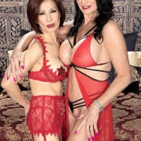 Tempting older femmes Rita Daniels and Kim Anh have a threeway with junior guy