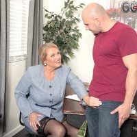 Thick dame over 60 Alice licking and providing immense wood handjob in office place place