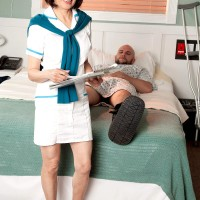 Uniformed Sixty plus Chinese MILF nurse Kim Anh giving large knob hj in medical center