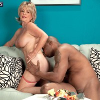Yellow-haired granny Lexi McCain loosing immense boobies before providing BIG EBONY DICK BJ